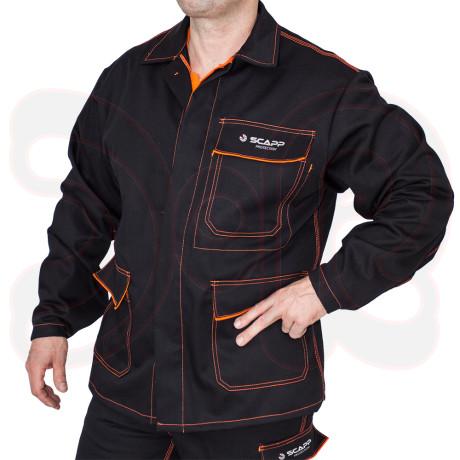 SCAPP Protection Schweißerschutzjacke - schwarz mit orangen Nähten - 340g Proban Qualität - Gr. 46